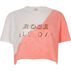 White 'rose all day' cropped T-shirt - print t-shirts / vests - t shirts / vests - tops - women