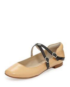 Adelina Leather Ballet Flat, Camel by Andrew Stevens