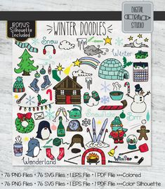 Illustrator Cs5, Outline Drawings, Jungle Animals, Winter Season, Vector Graphics, Mittens, Hand Drawn, Snowman