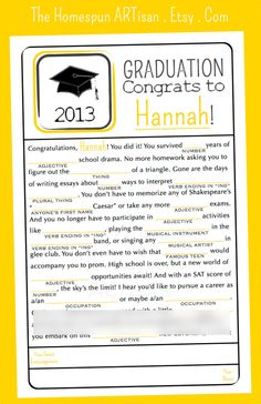 Graduation MAD LIBS Game  High School  by TheHomespunArtisan, $19.95