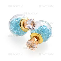 aretes de bola cristal de dorado en acero para mujer-SSEGG404523