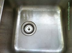 Just Salt and Baking Soda on a scouring pad to make your stainless steel sink sparkle!