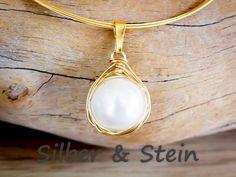 Perlen-Anhänger gold filled von Silber & Stein auf DaWanda.com
