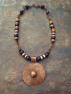 Tribal NecklacePurple Earthy Necklace Ethnic by MaryBulanova