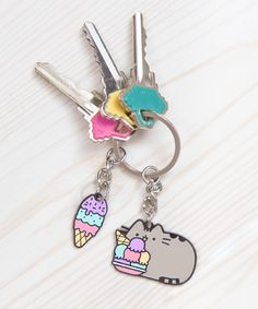 Ice Cream Pusheen keychain
