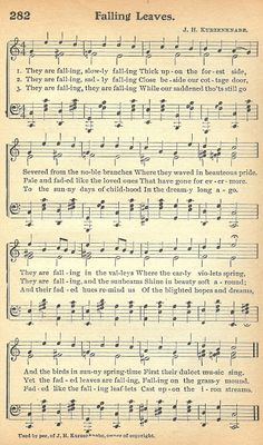 Printable Autumn Antique Sheet Music ~ from KnickofTime.net