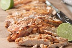 Grilled Chicken for tacos 1 tsp cumin, 1 tsp salt, 1/2 tsp pepper, 1/2 tsp paprika, 1/2 tsp garlic salt, 3-4 med to lg boneless skinless chicken breasts, 2 limes.  Preheat grill to med high heat. Combine spices in bowl. Cover chicken with spices on both sides. Squeeze 1 lime over all. Stir well. Grill right away or marinate 1-5 hrs. Lightly spray grill with cooking spray. Cook 5-6 min each side or until juices run clear. Let rest on plate for ten min. Slice thin and squeeze lime over tops.