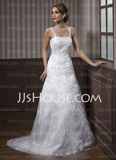 Wedding Dresses - $173.69 - A-Line/Princess Sweetheart Court Train Satin  Lace Wedding Dresses With Beadwork (002012140) http://jjshouse.com/A-line-Princess-Sweetheart-Court-Train-Satin--Lace-Wedding-Dresses-With-Beadwork-002012140-g12140