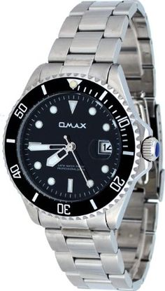 Omax #CS402 Men's Stainless Steel Black Dial 50M Pro Dive Style Sports Watch: Watches: Amazon.com