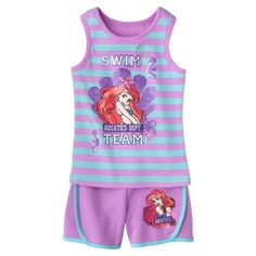Disney Infant Toddler Girls 2 Piece Ariel Set - Grape