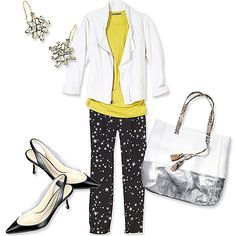 In a flowy fabric, like silk, these trousers have a dressy (but not fussy) feel. Combine them with an unstructured jacket, then accent with sparkly earrings, a metallic bag, and just-plain-sexy slingbacks.