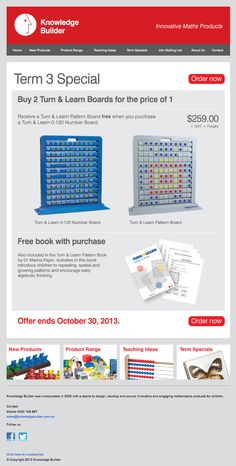 <p><a href=&quot;/pin/211317407488962371/&quot;></a>This is the bulk email used to announce the latest term special for Knowledge Builder. Click on the pics and it takes you directly to the special on the website to purchase it.</p>