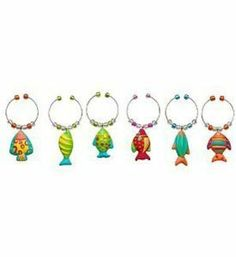 Tropical Fabulous Go Fish Wino Wine Charm S/6 by Boston Warehouse. $7.97. Each measures 1/2 inch in length. Charms attached to metal rings. Six piece set. Boston Warehouse Tropical Fabulous Go Fish Vino Wine Charms Set of 6