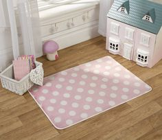 Simply dotty in the palest pretty pink, perfect for the princess in your life . Super soft, washable and in size 70 x Nursery Rugs, Modern Kids, Cool Rugs, Grey Rugs, Pink Polka Dots, Rugs On Carpet, Carpets, Latex, Kids Rugs