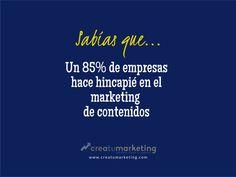 ¡Y Creatumarketing no podía ser menos! Porque sabemos que el marketing de contenidos es el presente y el futuro de cualquier estrategia online. 👩💻💪    ✨ http://qoo.ly/msavu ☎ 935 467 591