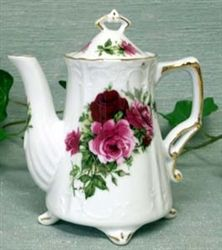 New - Summer Rose 2 Cup Antique Teapot - Footed Porcelain Teapot - Made in the USA