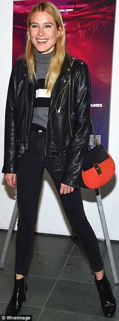 Blondes have more fun: Smiling Dree Hemingway, 27, donned a black leather jacket over a gr...