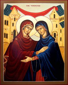 The Visitation - The Sacred Images of Marysia Kowalchyk - Madonna House Religious Icons, Religious Images, Religious Art, Spiritual Paintings, Kobold, Blessed Virgin Mary, John The Baptist, Orthodox Icons, Blessed Mother