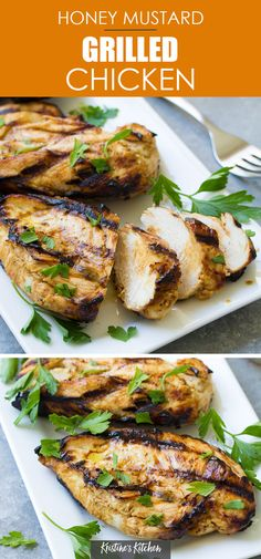 Delicious Honey Mustard Grilled Chicken is one of the best summer recipes! Use the simple marinade on chicken breasts or thighs. With tips for how to make moist and flavorful grilled chicken. #grilledchicken #chicken Potluck Recipes, Grilling Recipes, Summer Recipes, Healthy Dinner Recipes, Healthy Food, Healthy Family Dinners, 30 Minute Meals, Honey Mustard, Chicken Breasts
