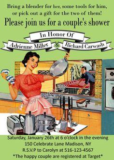 Bridal Shower Invitation - Retro Party Invitation - Printable - Glamorous Sweet Events. $14.00, via Etsy. That's funny.