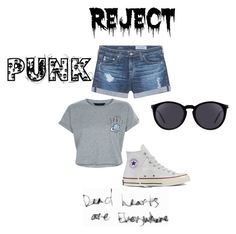 """""""PUNK 2"""" by adna-00 ❤ liked on Polyvore featuring AG Adriano Goldschmied, New Look, Converse and Yves Saint Laurent"""