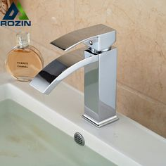 (38.19$)  Buy here  - Free Shipping Wholesale And Retail Polished Chrome Waterfall Spout Bathroom Basin Faucet Modern Square Sink Mixer Tap