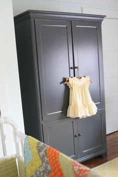 Gray painted armoire