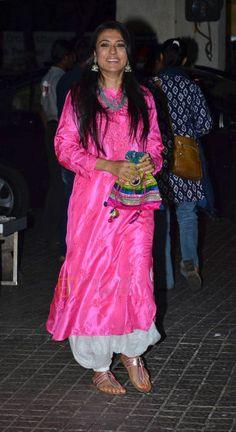 MINI MATHUR in rani pink kurta teamed with Aladin pants