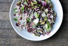 fennel and radicchio winter salad w/ pecans (definitely on the bitter side - good with something rich and cheesy)