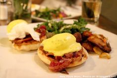 Whitman Benedict: Poached Eggs, Pancetta, Spicy Cilantro Hollandaise, English Muffin at Whitman & Bloom