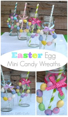 Learn to make these adorable Easter egg mini candy wreaths! | CatchMyParty.com