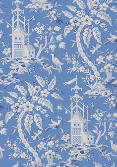 Pagoda Garden Wallpaper from the Imperial Garden Collection by Thibaut, with a fantasy Oriental scene with arching trees, birds, and pagodas, shown in cornflower blue. Wallpaper Stores, Fabric Wallpaper, Of Wallpaper, Designer Wallpaper, Oriental Wallpaper, Wallpaper Patterns, Garden Wallpaper, Chinoiserie Chic, Chinoiserie Wallpaper