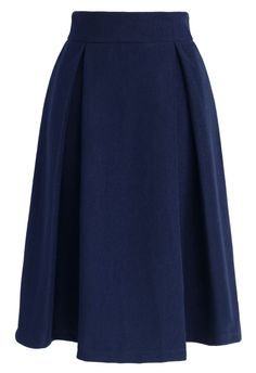Full A-line Suede Skirt in Navy - Bottoms - Retro, Indie and Unique Fashion