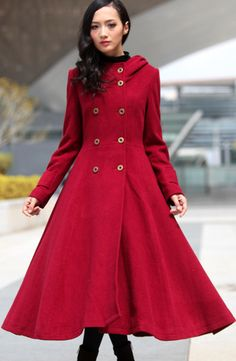 stunning red hooded maxi pea coat