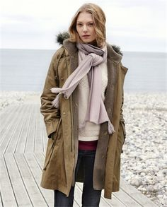 Poetry - Winter Parka - Fabulously practical but very stylish, our new parka will take you from autumn to winter with its full length, detachable cosy fleece lining. Contemporary styling with a lightly waxed finish and a faux fur trimmed hood, it has all the parka style cues: deep patch pockets, a drawstring waist and ribbed cuffs to keep out the cold.
