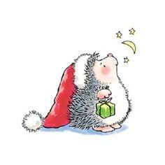 #Hedgie #Hedgehog #prickly #cuteness #christmas #santahat #present #moonandstars