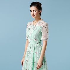 Women's Work Boho Chiffon / Swing Dress,Polka Dot V Neck Maxi Short Sleeve Green / Yellow Cotton / Polyester All Seasons 5073386 2017 – $36.99