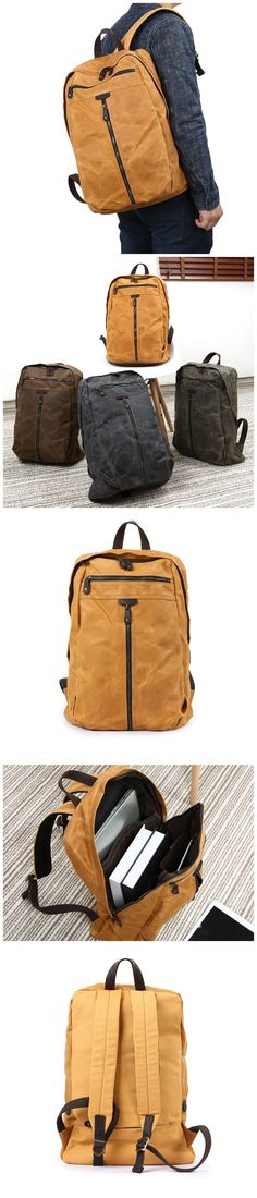 Waxed Canvas Backpack Waterproof Canvas Travel Backpack Canvas With Leather Laptop Backpack YD5385 Leather Laptop Backpack, Travel Backpack, Army Green, Green And Grey, Canvas Backpacks, Waxed Canvas, Christmas Shopping, Natural Leather, Shoulder Strap