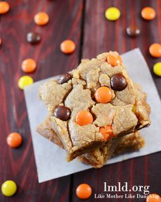 Reese's pieces blonde brownies- made these because my daughter gave up chocolate for lent, they were a complete hit at a party! Baked for 25 minutes not 30. Amazing! Would also be good with a chocolate drizzle too