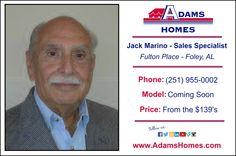 Adams Homes welcomes new Foley, Alabama, community, Sales Specialist, Jack Marino.  #AdamsHomes #RealEstate #Realtors #NewHome #Sales #SellingAHouse #HomesForSale #HomeBuilding #HomeBuilder #NewConstruction #Foley #Alabama #GulfCoast #ModelHome #Home #House