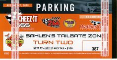 Tailgate Zone 2 Trackside #387 (See map) parking/tailgating pass for NASCAR Watkins Glen Race Weekend 8/5-8/7/16. View of the races can't be beat from... #zone #pass #trackside #gate #tail #watkins #glen #nascar