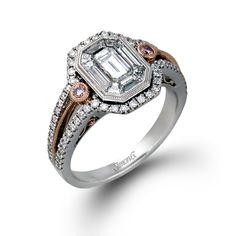 Mosaic Collection � This brilliant 18K white and rose ring features a 1.0ctw center mosaic of white diamond, .34ctw round white Diamonds and .05ctw round pink Diamonds. � TR232