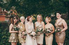gold bridesmaids' dresses, photo by Christine Lim http://ruffledblog.com/glam-toronto-hotel-wedding #bridesmaiddresses #bridesmaids