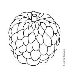 Custard Apple Fruits Coloring Pages For Kids Printable Free