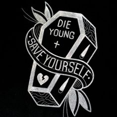 "Made to order traditional tattoo inspired ""Die Young"" coffin hand painted 14"" x…"