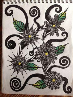 zentangle flowers | Pinned by Jeannine Drevitch
