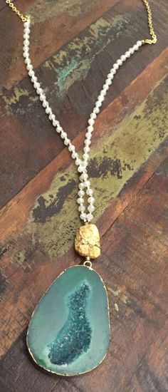 "White & Gold Beaded 30 1/2"" Long Necklace with Green Stone Pendant"