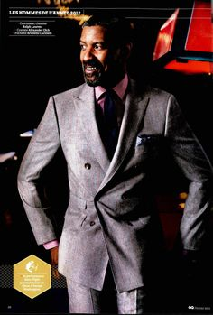 Ralph Lauren Purple Label  Denzel Washington looks très sharp in a Purple Label suit in the February Issue of GQ France