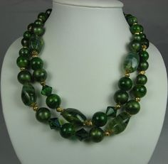 Vintage Two Strand Green Art Glass Necklace by TheFashionDen, $21.00