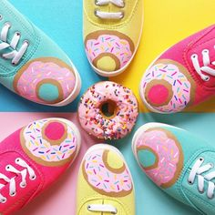 Custom Donut shoes, lace ups or mary janes multiple colors available Painted Canvas Shoes, Painted Sneakers, Hand Painted Shoes, Donut Birthday Parties, Donut Party, Crazy Shoes, Me Too Shoes, Donut Shoes, Ethno Style
